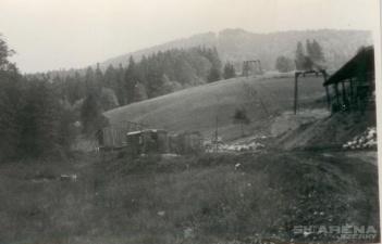 Špičák výstavba dolní stanice vleku 1966
